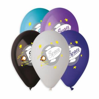 Комплект 5 бр. балони с печат Ракета, космос микс цветове Gemar /Gd/