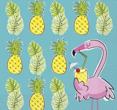Парти салфетки Фламинго с ананас тропическо парти 16 бр в пакет,  / Hawaiian Tropical Summer Pineapple & Flamingo