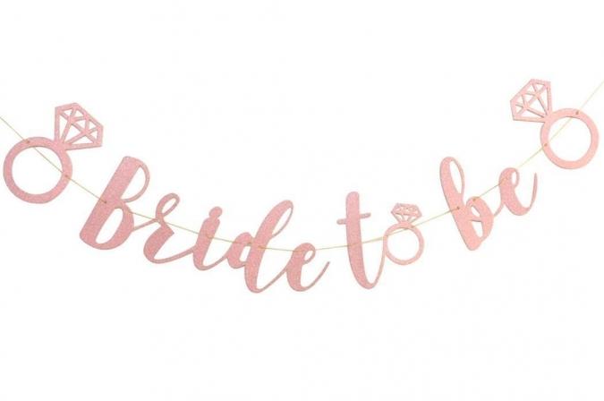 """Банер, надпис в Розово Злато за Моминско Парти """"Bride To Be"""", размери 35х170 см"""