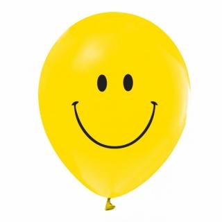 Балон с печат Усмивка / Емотикон, диаметър 30 см, 5 бр. в пакет, лицензирани
