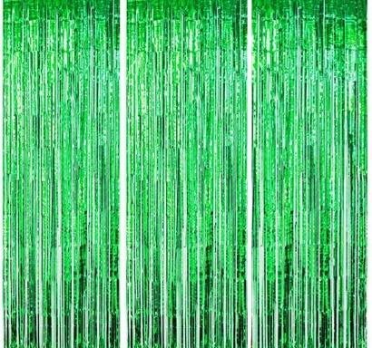 Ресни за декорация  /ПВЦ/ лъскави, цвят зелено 100х220см