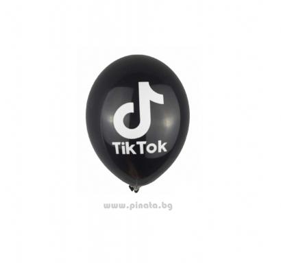 К-кт балони с печат Тик Ток, 26 см. диаметър, 10 бр. в опаковка, цвят черен