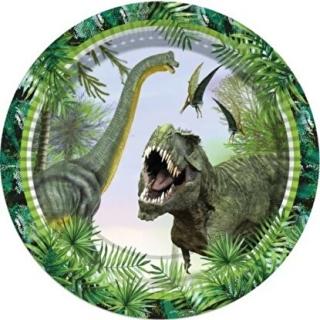Хартиена парти чинийка Динозаври Джурасик 23 см / Jurassik Dinosaur, 8 бр. в опаковка