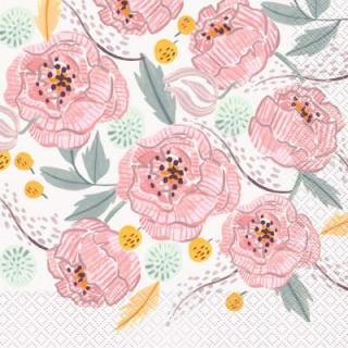 Парти салфетки Флорални рисувани цветя 16 бр в пакет, Painted Floral
