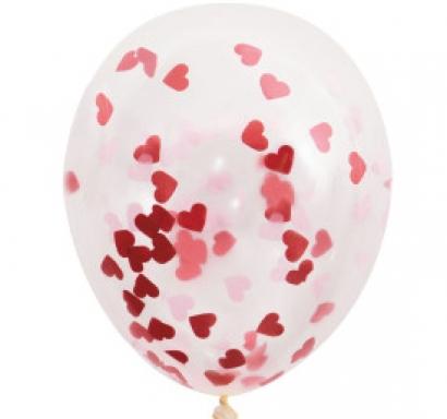 Прозрачен балон с големи розови и червени конфети във  форма на сърце  40,6 см диаметър, 5 бр. в пакет