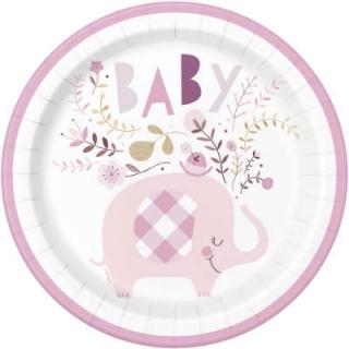 Хартиена парти чинийка , Бебе, момиче, слонче с флорални елементи /  Pink Floral Elephant, 8 бр. в опаковка