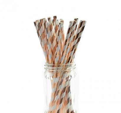 Сламки в цвят розово злато и бяло картон, 24 бр. в опаковка /Gd/
