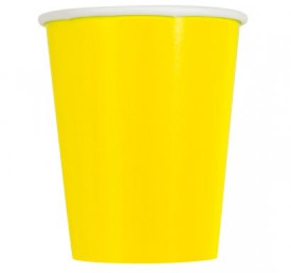Хартиена парти чашка жълта неон 250 мл, 14 бр. в опаковка