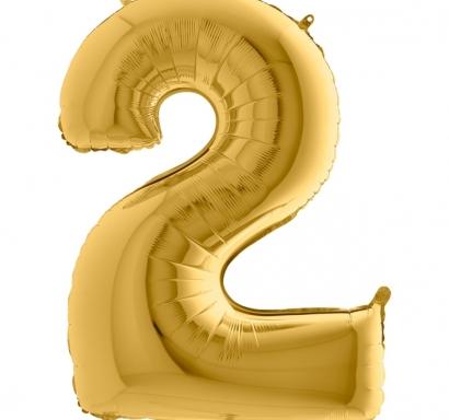 Фолиен балон цифра 2 цвят злато - 102 см височина /40