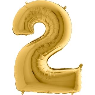 """Фолиен балон цифра 2 цвят злато - 102 см височина /40""""/"""