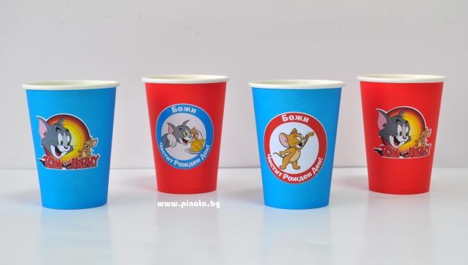 Персонализирана хартиена парти чашка 250 мл Том и Джери