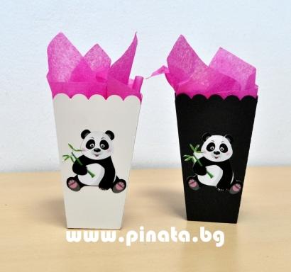 Тематична парти кутийка за пуканки Панда / Popcorn Box Panda