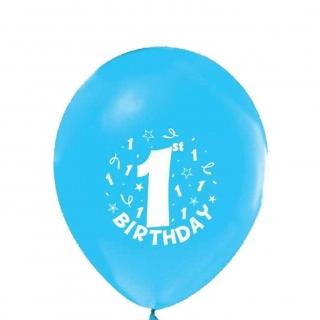 Балони с печат цифра 1 и надпис Първи рожден ден  бебе / 1st Birthday, 6 бр. в пакет