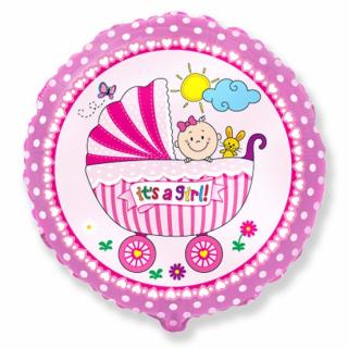 Фолиев балон Бебе момиче количка / Baby Buggy Girl 40 см, Flexmetal /Gd/
