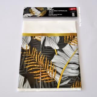 Парти покривка Листа златни и сребърни 120х180 см