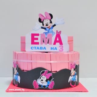 Хартиена торта с персонализация тематична декорация Мини Маус