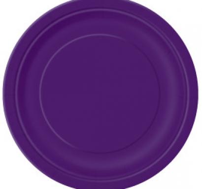 Хартиена парти чинийка тъмно лилава, 18 см, 20 бр. в опаковка