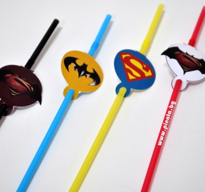 Тематични парти сламки с облър Батман срещу Супермен