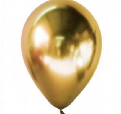 Балон хром злато, диаметър 13 см, 10 бр в пакет