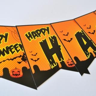 Банер гирлянд за декорация Хелоуин / Happy Haloween, 1,40 м дължина, 11 бр. фигури