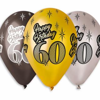 Комплект 6 бр. балони металик с печат 60 години Happy Birthday, микс цветове Gemar /Gd/