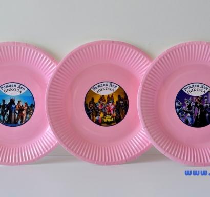 Персонализирана хартиена парти чинийка Фортнайт Лама, 5бр. пакет