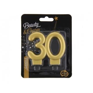 Свещичка за рожден ден, металик цвят злато, юбилей 30 години /Gd/