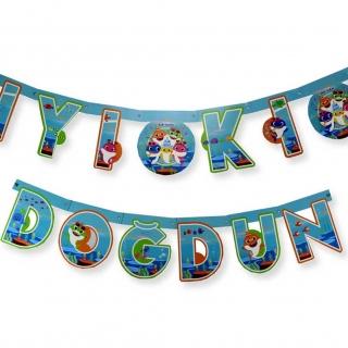 Банер гирлянд за декорация Бейби Шарк с текст Iyiki Dogdun, 2,00 м дължина