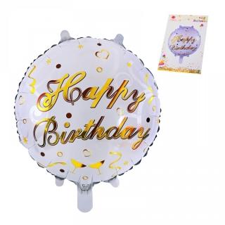 "Балон Рожден Ден / ""Happy Birthday"" бяло и златно /фолио/, 45х45 см"