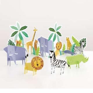 Парти комплект за декорация на маса - Джунгла, сафари, животни, 5 бр. в опаковка