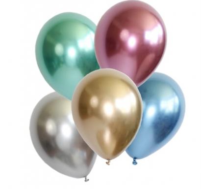 Балони металик хром диаметър 30 см, 5 бр в пакет микс цветове