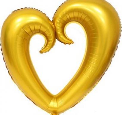 Фолиев балон Сърце златно, 80 см височина /30