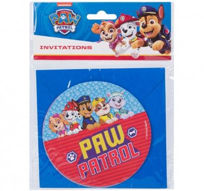 Покана за рожден ден Пес Патрул с включени пликове, 6 бр. в опаковка