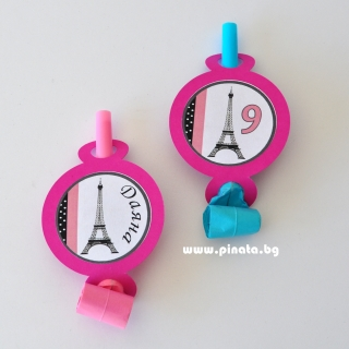 Персонализирана парти свирка Париж Айфелова кула, 5 бр. пакет