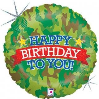 Фолиев балон Камуфлаж с холограмен надпис Happy Birthday to you, 45 см диаметър