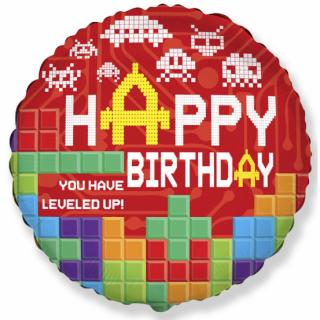 Фолиев балон Лего Блокчета Игра / Level Up Bricks 40 см, Flexmetal /Gd/