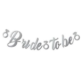 """Банер, надпис в Сребро за Моминско Парти """"Bride To Be"""", размери 35х170 см"""