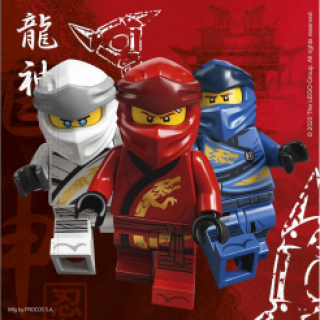 Парти салфетки Лего Нинджаго 33х33 см, 20бр. в пакет, лиценз /Gd/