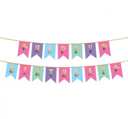Банер комплект Happy Birthday / Честит Рожден Ден, цветни флагчета със златни букви и картинки