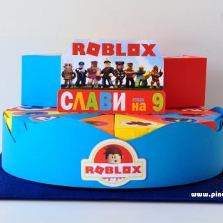 Хартиена торта с тематична декорация и персонализация Роблокс