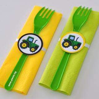 Парти комплект салфетка и вилица Трактор, 5 бр. пакет