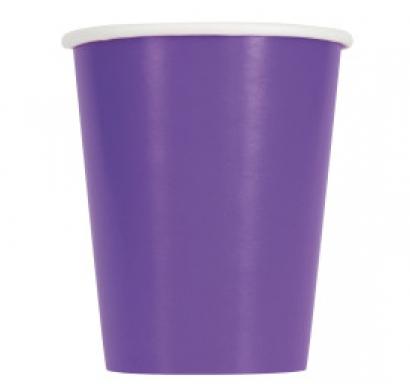 Хартиена парти чашка лилава неон 250 мл, 14 бр. в опаковка