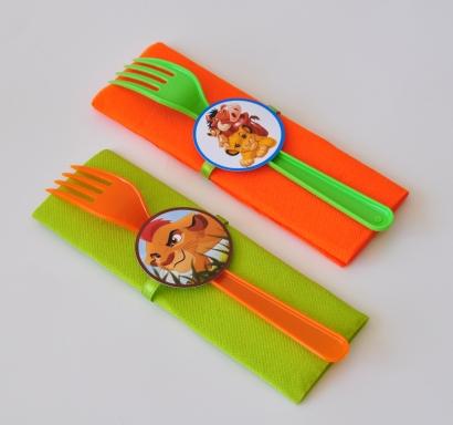 Парти комплект салфетка и виличка Цар Лъв 33х33 см, 5 бр. пакет