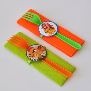 Парти комплект салфетка и виличка Цар Лъв 33х33 см