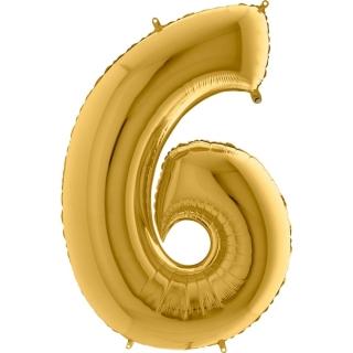 """Фолиен балон цифра 6 цвят злато - 102 см височина /40""""/"""