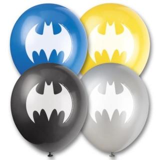 Комплект 8 бр. балони с печат Батман, микс цветове /черен, жълт, сребърен и син/, лиценз DC Comics