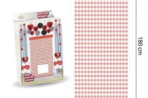 Ресни за декорация  във форма на сърца /ПВЦ/ лъскави, цвят розово злато 100х180см