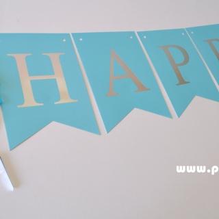 Банер комплект Happy Birthday / Честит Рожден Ден, син със сребърни букви и 4 пискюла за декорация