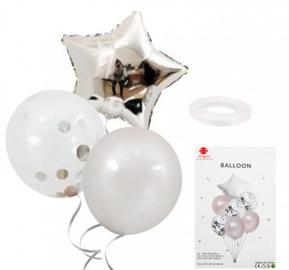Комплект 7 бр. сребърни балони  - Звезда фолио, едноцветни латексови и прозрачни с конфети