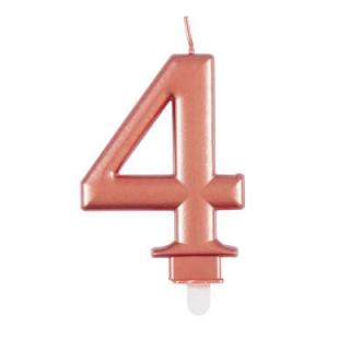 Свещичка за рожден ден, металик цвят розово злато  0-9
